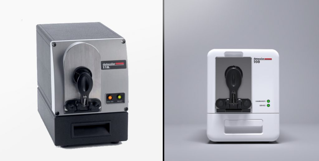 On the left is a photo of DC110 by Datacolor. On the right is a rendering of DC200 designed by Zaic Design.