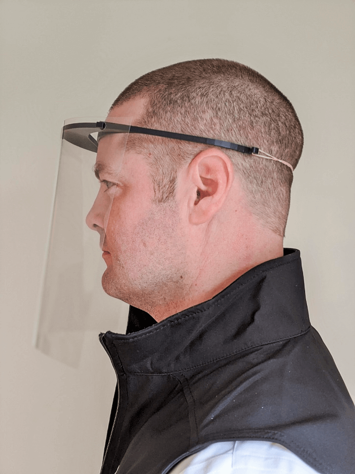 Zaic Design 3d printed Face Shield from the side