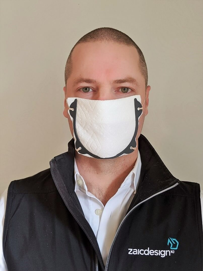 Zaic Design 3D Printed Face Mask frame with Paper Towels folded